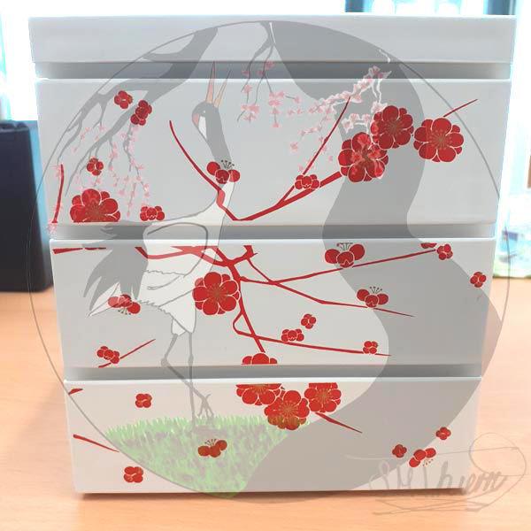 Bentobox Pflaumenblüte, Seitenansicht 2