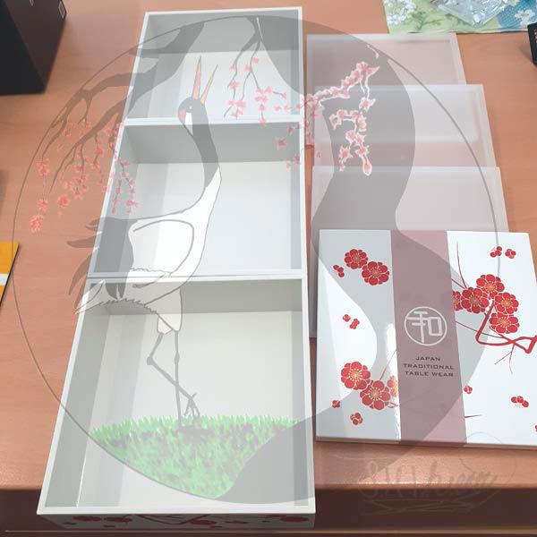 Bentobox Pflaumenblüte, Auseinandergebaut